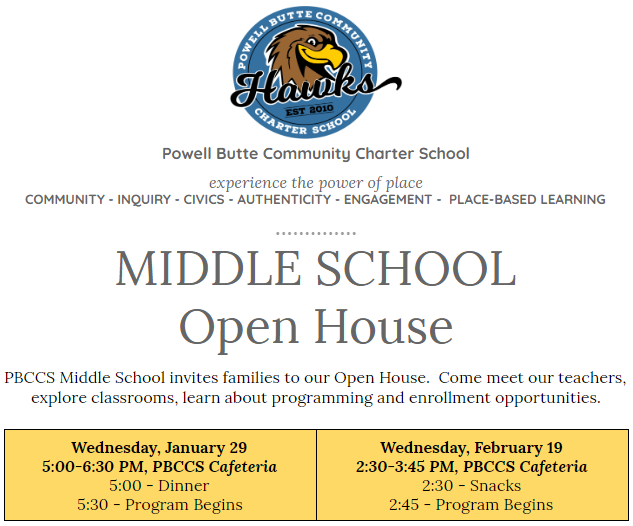 Middle School Open House